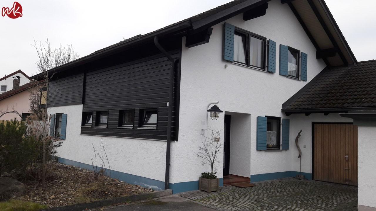 Fertige Fassade und Holzelemente