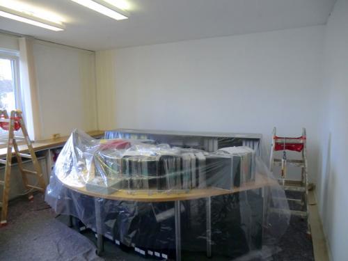 Wandflächen vorher, Büro